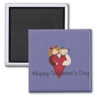 El día de San Valentín feliz de los pares del país Imán Cuadrado