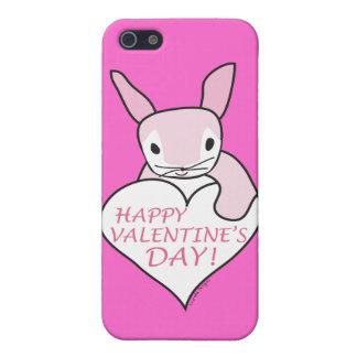 El día de San Valentín feliz del conejito rosado iPhone 5 Funda