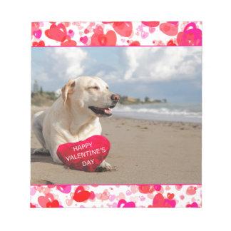 El día de San Valentín feliz del corazón del perro Bloc De Notas