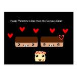 El día de San Valentín feliz del vampiro Éclair Tarjeta Postal
