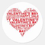 El día de San Valentín feliz Etiquetas Redondas