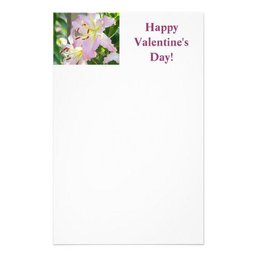 ¡El día de San Valentín feliz! flor rosada del lir Papelería