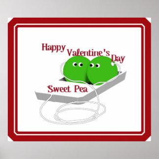 El día de San Valentín feliz, guisante de olor Póster