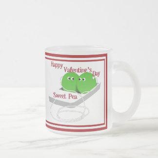 El día de San Valentín feliz, guisante de olor Taza De Café Esmerilada