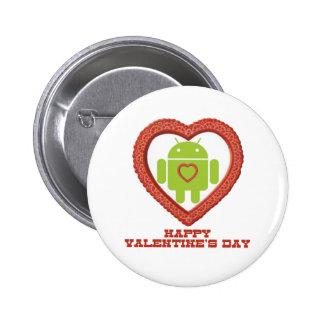 El día de San Valentín feliz (insecto Droid dos Pin Redondo 5 Cm