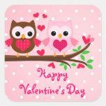 El día de San Valentín feliz lindo de los pares de Calcomanías Cuadradass Personalizadas