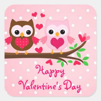 El día de San Valentín feliz lindo de los pares Pegatina Cuadrada