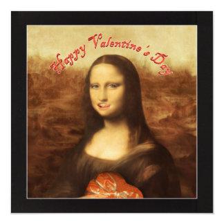 """¡El día de San Valentín feliz Mona Lisa! Invitación 5.25"""" X 5.25"""""""