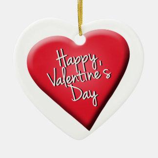 El día de San Valentín feliz Ornamento Para Arbol De Navidad