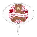 ¡El día de San Valentín feliz! Oso de peluche Figura Para Tarta