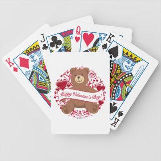 ¡El día de San Valentín feliz! Oso de peluche Cartas De Juego