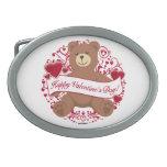 ¡El día de San Valentín feliz! Oso de peluche Hebilla De Cinturon Oval