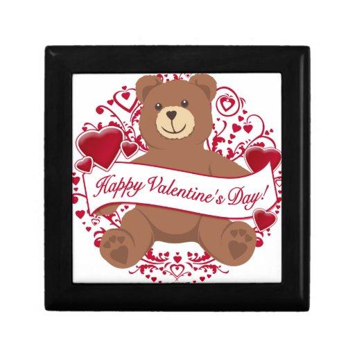 ¡El día de San Valentín feliz! Oso de peluche Joyero Cuadrado Pequeño