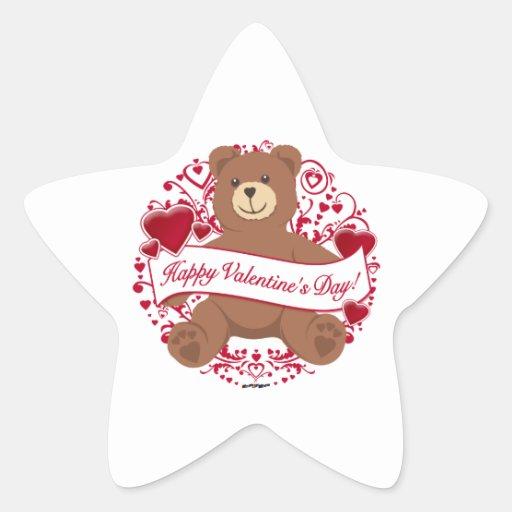 ¡El día de San Valentín feliz! Oso de peluche Calcomanía Cuadrada