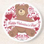 ¡El día de San Valentín feliz! Oso de peluche Posavasos Diseño