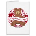 ¡El día de San Valentín feliz! Oso de peluche Tarjetas