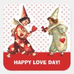 El día de San Valentín feliz. Pegatinas de encargo Pegatina Cuadrada