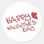 el día de San Valentín feliz Pegatinas Redondas