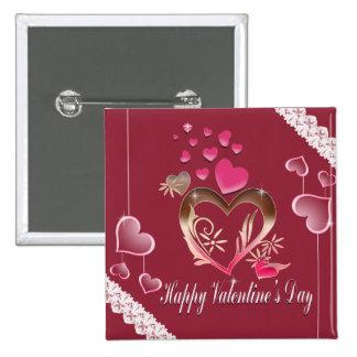 El día de San Valentín feliz Pin Cuadrado