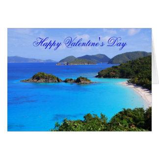 El día de San Valentín feliz, playa tropical Tarjetas