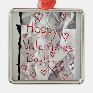 El día de San Valentín feliz, rasgado y grabado ju Ornamento De Navidad