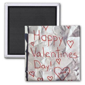 El día de San Valentín feliz, rasgado y grabado ju Imán De Frigorifico