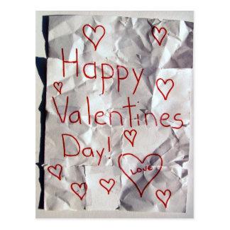 El día de San Valentín feliz, rasgado y grabado ju Tarjeta Postal