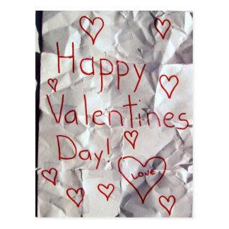 El día de San Valentín feliz, rasgado y grabado Tarjeta Postal