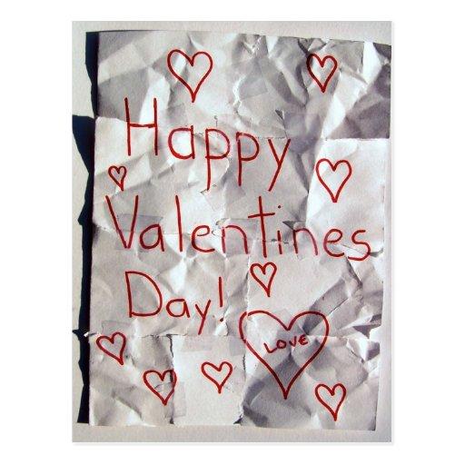 El día de San Valentín feliz, rasgado y grabado Tarjetas Postales