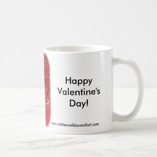 El día de San Valentín feliz Rattie Tazas De Café