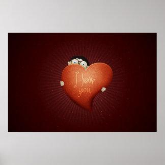 El día de San Valentín feliz: Un muchacho en el am Póster