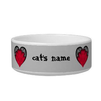 El día de San Valentín gótico lindo con los corazo Tazones Para Comida Para Gato