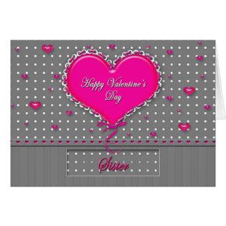 El día de San Valentín - hermana - gris/rosa/lunar Tarjeta De Felicitación