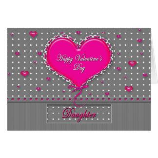 El día de San Valentín - hija gris/rosa/lunar Tarjeta De Felicitación