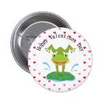 El día de San Valentín lindo de la rana verde Pins