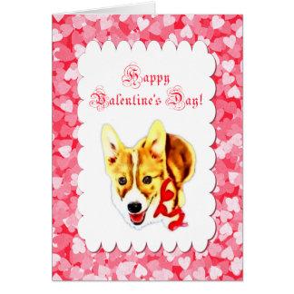 El día de San Valentín lindo del Corgi Tarjeta De Felicitación