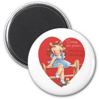 El día de San Valentín lindo del vintage, chica en Imán Redondo 5 Cm