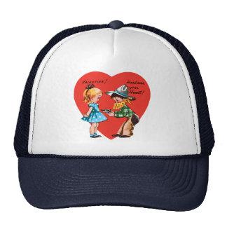 El día de San Valentín lindo del vintage, chica Gorra