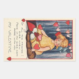 El día de San Valentín lindo del vintage, chica Pegatina Rectangular