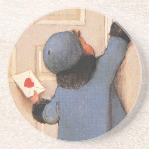 El día de San Valentín lindo del vintage, correo Posavasos Manualidades