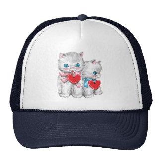 El día de San Valentín lindo del vintage, gatos Gorro De Camionero