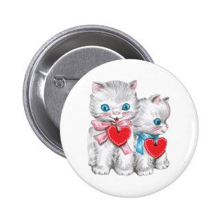 El día de San Valentín lindo del vintage, gatos Pin Redondo De 2 Pulgadas