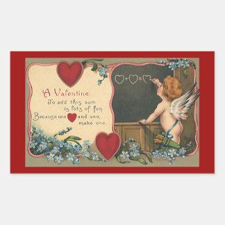El día de San Valentín lindo del vintage, profesor Pegatina Rectangular