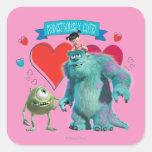 El día de San Valentín - Monsters Inc. Calcomania Cuadradas Personalizadas