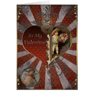El día de San Valentín - muchacho en un gorra con Tarjeta De Felicitación