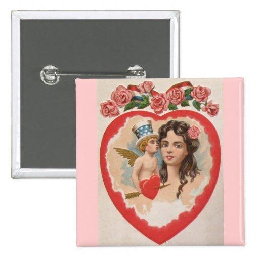 El día de San Valentín patriótico del vintage Pin Cuadrada 5 Cm