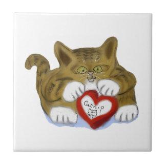El día de San Valentín presente para el gatito del Teja Ceramica