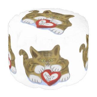 El día de San Valentín presente para el gatito del Puf Redondo