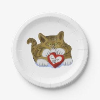 El día de San Valentín presente para el gatito del Plato De Papel 17,78 Cm