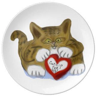 El día de San Valentín presente para el gatito del Platos De Cerámica